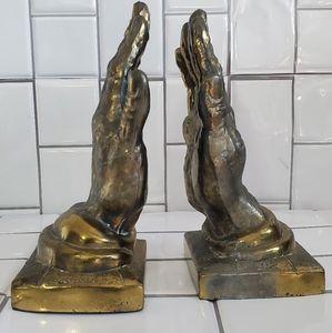 Vintage Gold/ Bronze Praying Hands BookEnds  Numb
